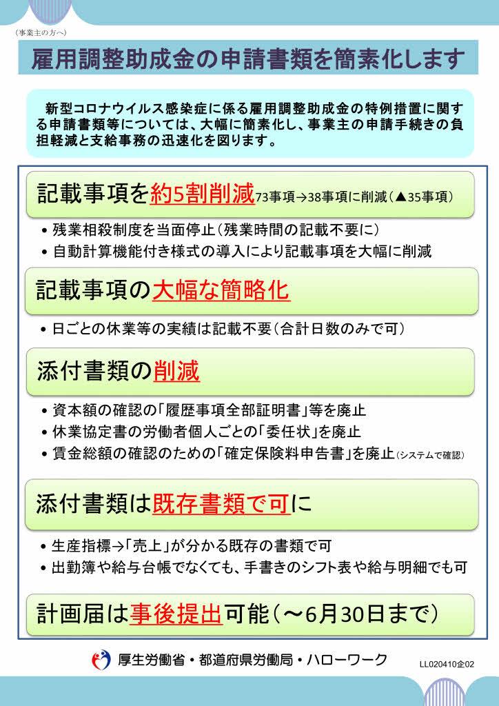 雇用調整助成金の申請書類を簡素化します