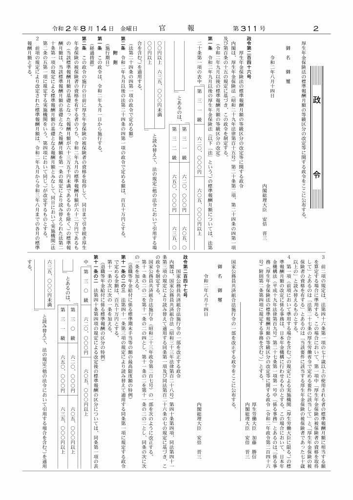 官報(厚生年金標準報酬月額上限改定)
